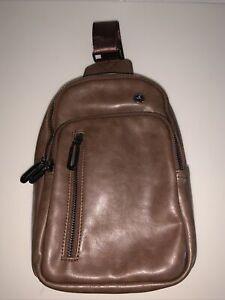 Sling Bag Cross Body Vertical Messenger Bag 4 Pockets, Brown Leather 10 X 7  New