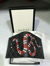 Mens Preowned GUCCI Genuine Leather Canvas ID Card Wallet Black