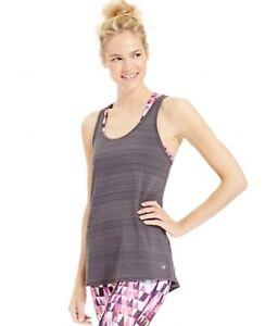New IDEOLOGY Women's Striped Deep Charcoal Tank Top Gym Yoga Active Size Medium