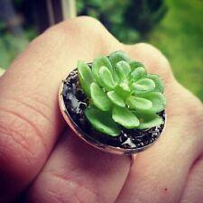 Unique SUCCULENT RING handmade GARDENING adjustable PLANT mini CUTE miniature