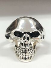 NEW Mens Sterling Silver Skull Ring Solid 925 Biker Ghost Rider Antiqued / Gift