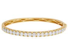 "Ladies Bangle Bracelet Real Diamond 25 PTR 1 Row 14k Yellow Gold 4 3/7 Ct 5mm 7"""