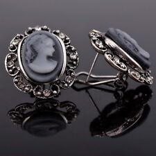 Beauty Gray Cameo Acrylic Beauty Gift Crystal Gemstone Stud Pierced Earrings