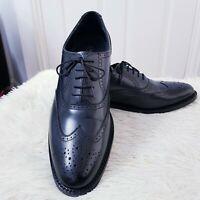 Samuel Windsor England Handmade Full Leather Brogues Size 10 Black Mens Shoes