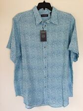 Roundtree & Yorke Button-Front shirt NEW Men's Large L Blue NWT MSRP $45.00