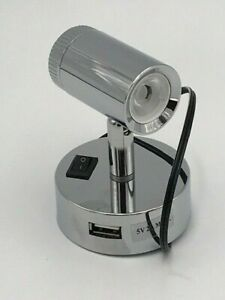 Caravan/Motorhome -Mensa -LED Spotlight with 2 USB Socket -Chrome Effect - PO788