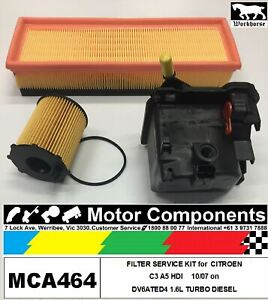 FILTER SERVICE KIT for CITROEN C3 A5 HDI DV6ATED41.6L TURBO DIESEL 10/07>3/2009
