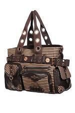 Banned Striped Steampunk Vintage Punk Goth Lock & Key Casual Shoulder Strap Bag
