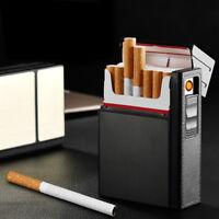 Portable Cigarette Box + Lighters Windproof USB Smoking Cigarettes Box Holder