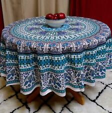 Handmade Elephant & Peacock Print 100% Cotton Tablecloth 69 Inches Round Teal