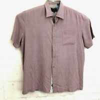 Nat Nast Mens Short Sleeve Button Front 100% Silk Shirt Sz XL Geometric
