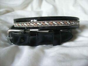 NEW! BLING*Shiny Real PATENT Leather Belt*Crystals Design*Dressage/Fashion*BLACK