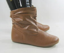 NEW LADIES Tan Flat Round Toe Sexy Comfortable Ankle Boots Size 6.5