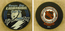 LOT OF 2  HOCKEY PUCKS - NHL OFFICIAL IN GLAS CO- TAMPA BAY LIGHTNING -FREE SHIP