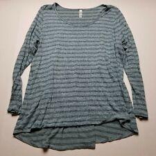 Lularoe Womens Shirt sz 3XL Blue Stripe Stretch Long Sleeve Pullover Soft I57