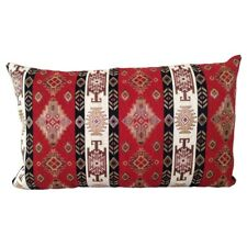 "Red/Cream Kilim Pattern Tapestry 14x24"" Pillow Case / Cushion Cover (Linen back)"