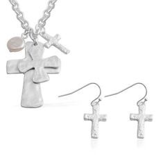 """PEARL SIMULATE SILVER TONE CROSS EARRING AND NECKLACE SET 18-20"""" PIERCED EARS"""