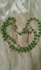 Emerald green crystal Holy Trinity hand made rosary beads gift bag Unique Rosary