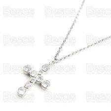 UK GIFT! CUBIC ZIRCONIA bezel set CROSS PENDANT chain NECKLACE 18KGP CZ crystal