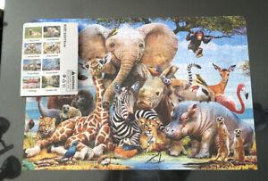 Animal World 1000 Piece Jigsaw Puzzle  – African Elephant Zebra Gazelle Rhino