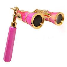 HQRP Binoculares 3 x 25 rosados-perlos con adorno dorado con mango extensible