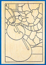 Stained Glass Snowman Rubber Stamp by the Stamp Pad Co. - Winter Snow Man Window