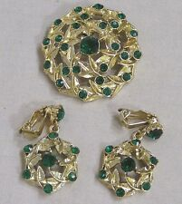 Vintage Jewelry Demi Parure Goldtone Wheel Brooch Green Rhinestones Dangle ER