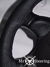FOR SEAT LEON MK1 98+ PERFORATED LEATHER STEERING WHEEL COVER PURPLE DOUBLE STCH