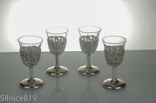 Delli Silverplate Glass Top Set of 4 Cordial Glasses in box