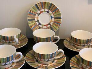 GIEN France Taffetas  Multicolor Tassels Design Cups and Saucers Set of 6