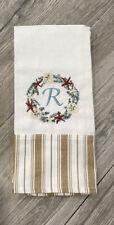 100% Cotton Towel Coastal Christmas Sand Dollar & Starfish Wreath Embroidered R
