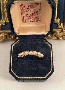 Vintage Jewellery Gold Ring White Seed Pearls Antique Deco Jewelry large 10 U
