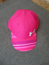 Under Armour Ball Cap Hat Bright Pink w/ Striped Visor Youth