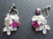 Vintage Signed SCHOFFEL Austria Crystal Clear & Red Rhinestone Elegant Earrings