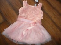 NWT The Childrens Place Girls size 4T formal peach tulle rosebud Dress PRETTY