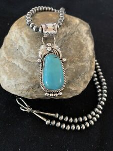 Navajo Pearls Sterling Silver Blue Kingman Turquoise Necklace Pendant Gift 649