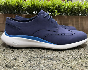 Cole Haan Grand Troy Wing Oxford Dress Shoes Marine Blue C33766 Men's Size 13
