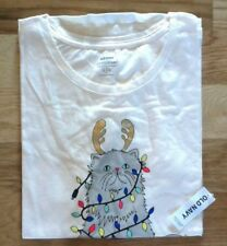 OLD Navy EVERWEAR Tee SHIRT T-Shirt TOP Christmas CAT Holiday MERRY Gnome NEW!!