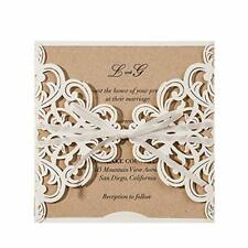 Ivory White Square Rustic Laser Cut Invitations Card Envelope Set Lace Sleeve