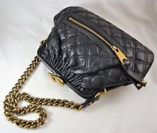 MARC JACOBS Quilted Black Leather STAM Frame Bag Large Kiss-Clasp & Chain Strap