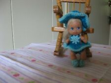 "TEAL BLUE & AQUA RUFFLED SUNSUIT  FOR KRISSY OR SIMILAR SIZED 2 1/4"" DOLL"