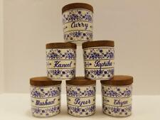 Boch Freres Keralux Belgium Blue/White Spice/Herb Jars w/ Wood Lids 1950-1970's