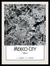 MEXICO CITY MAP POSTER PRINT MODERN CONTEMPORARY CITIES TRAVEL IKEA FRAMES