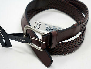 NEW Nike Golf Men's Size 36 38 42 Brown Braided Belt Silver Buckle Faux Leather