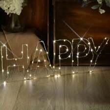 LED Luz de Estrellas Decoración De Alambre Mensaje Regalo Presente Cumpleaños Blanco Cálido-Feliz