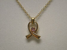 Breast Cancer Ribbon Pendant Necklace with Swarovski Elements Crystal Rose Pink