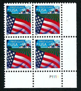USA, SCOTT # 3448, PLATE BLOCK OF FLAG OVER FARM, WATER-ACTIVATED GUM, NON-DENOM