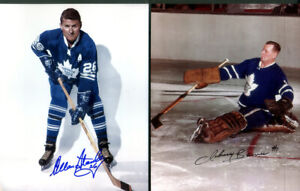 2  photos Autographed by John Bower & Alan Stanley Leafs HHOF with Certificate