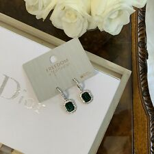 Freedom At Topshop Emerald Green Glass Statement Dangle Earrings