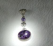 "Vintage Charoite & Amethyst Sterling Silver Pendant 2"" long, Purple Jewelry 925"